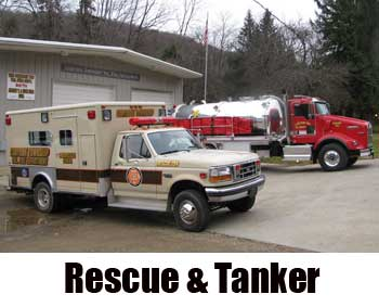 Corydon Township Volunteer Fire Department rescue truck and tanker